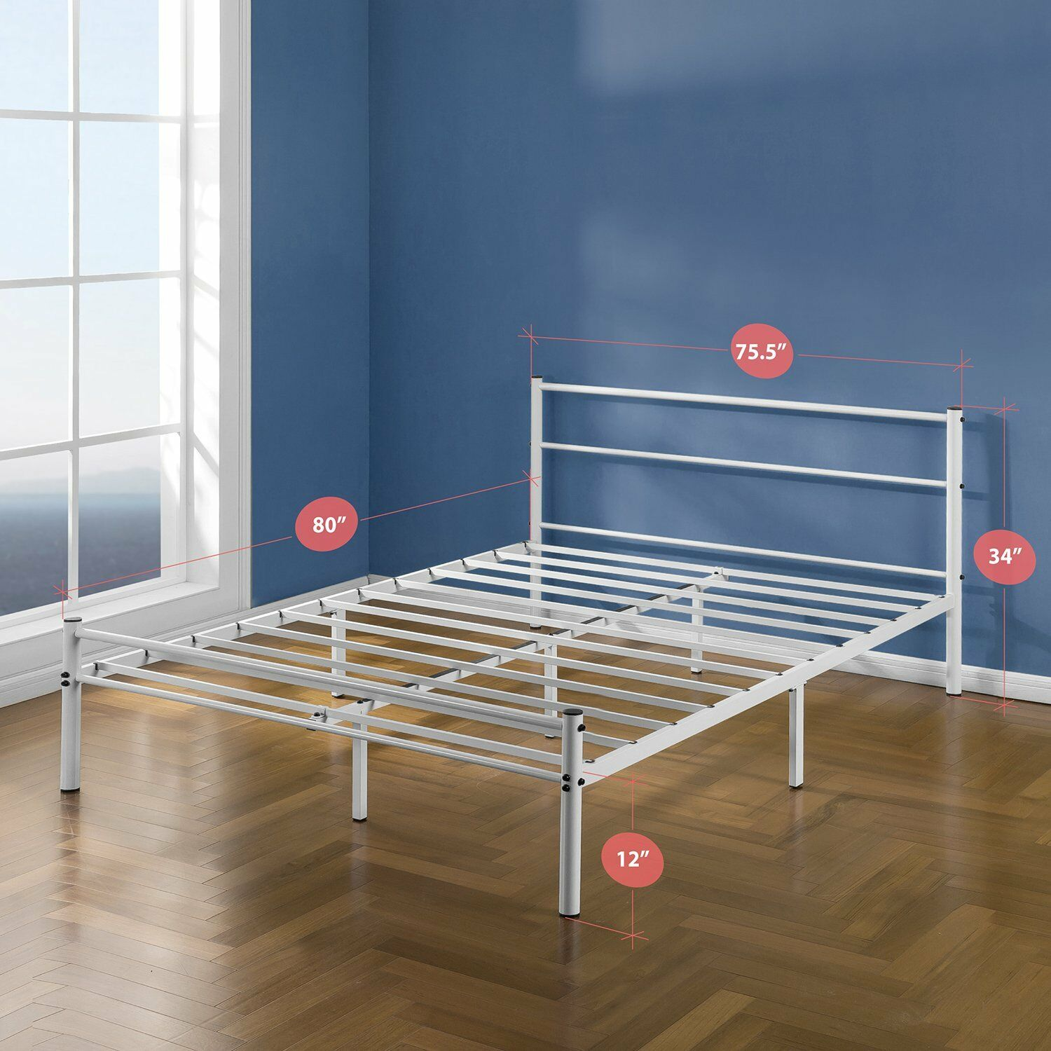 Zinus 12 Inch White Metal Platform Bed Frame With